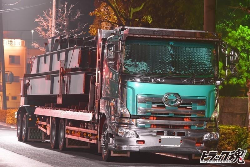 【仕事車礼讃】建鉄の日野プロフィア平ボディトレーラー連結という珍しいパターン 1