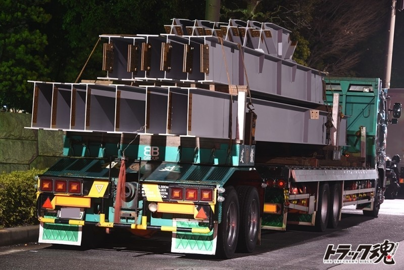 【仕事車礼讃】建鉄の日野プロフィア平ボディトレーラー連結という珍しいパターン 2